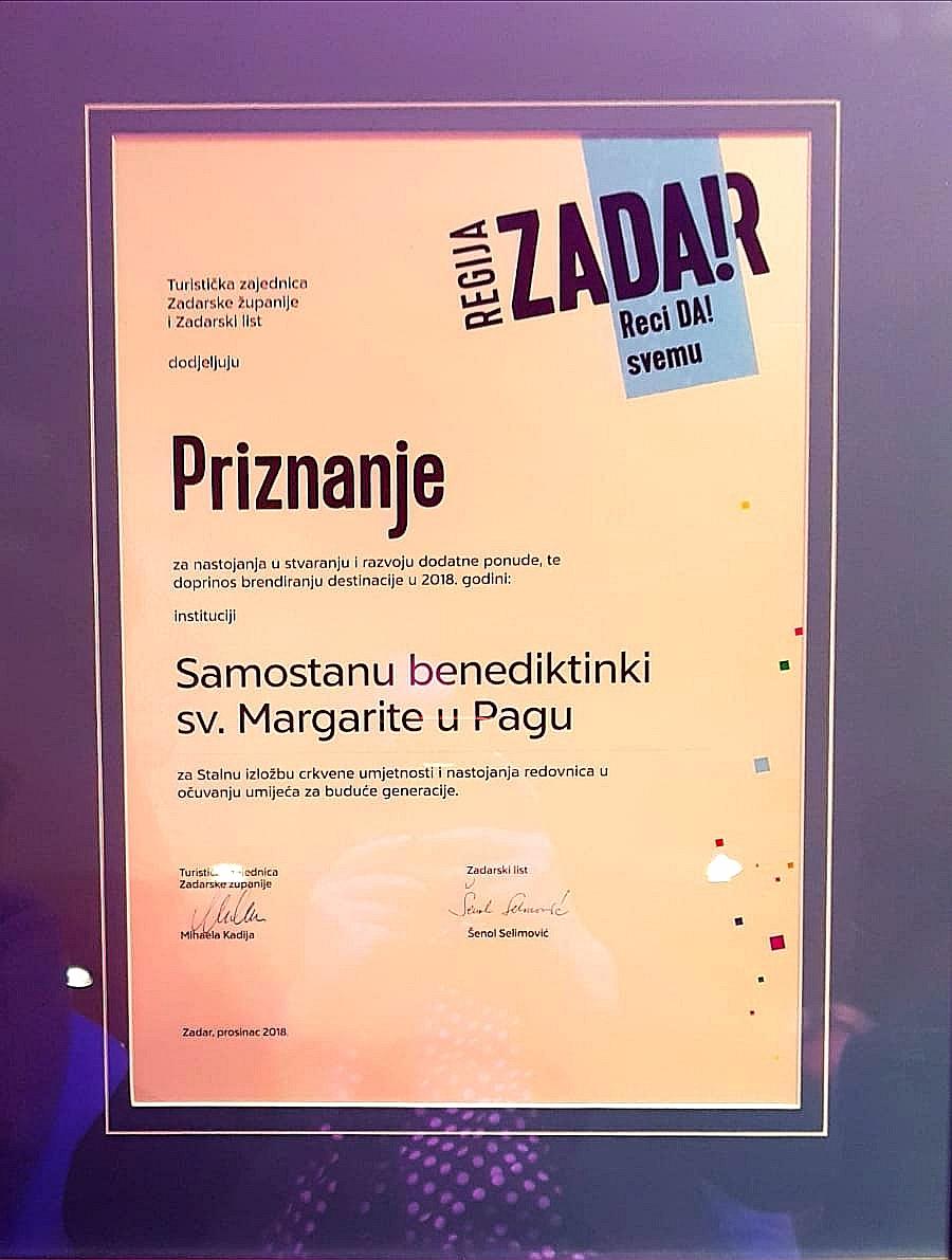 Nagrada za Stalnu izložbu crkvene umjetnosti i nastojanju redovnica u očuvanju umijeća za buduće generacije.
